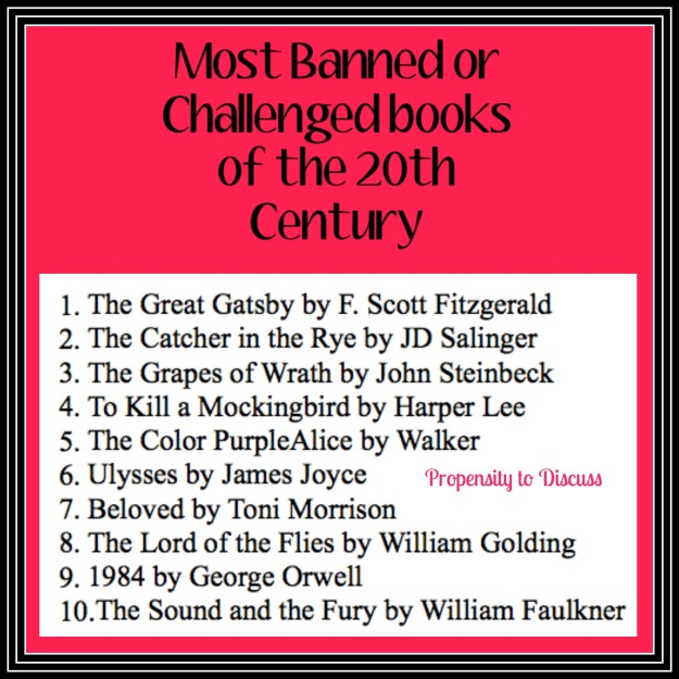 One note that rocked my world...for the best. A Propensity to Discuss Post. Most Banned Books of the 20th Century.